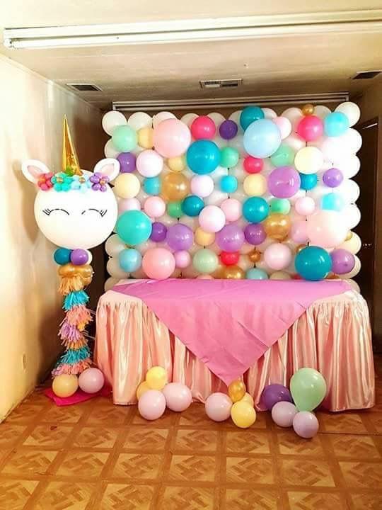 diy decoracao festa unicornio painel baloes