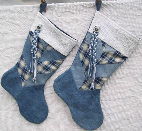 diy enfeites natal jeans bota