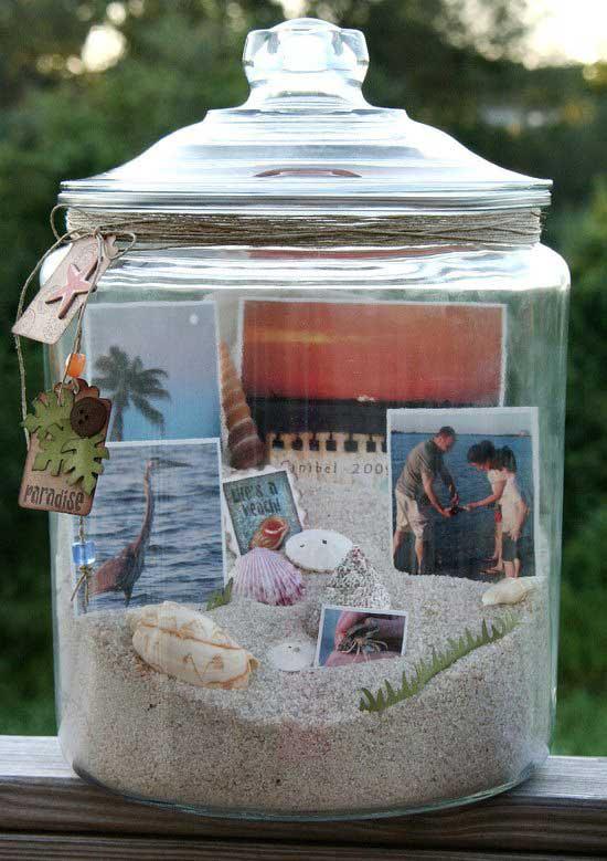 diy frasco memorias areia