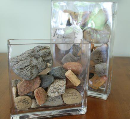 diy frasco memorias pedras