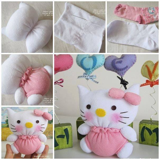 diy hello kitty de meia