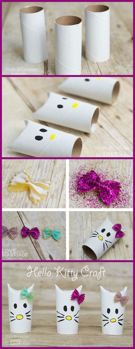 diy hello kitty rolos de papel