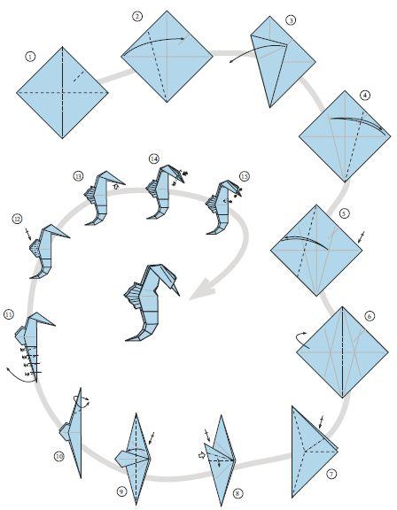 diy origami cavalo marinho