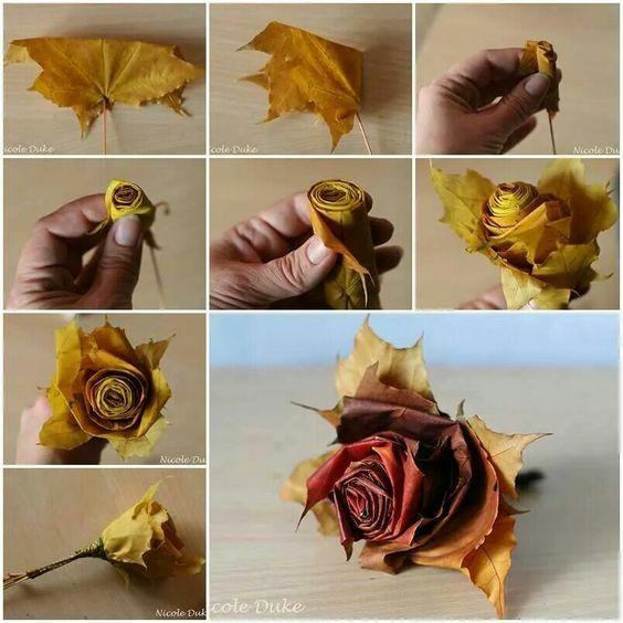 diy rosas de folhas