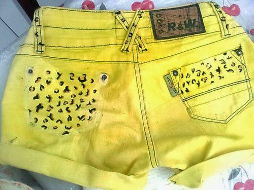 diy shorts oncinha simples