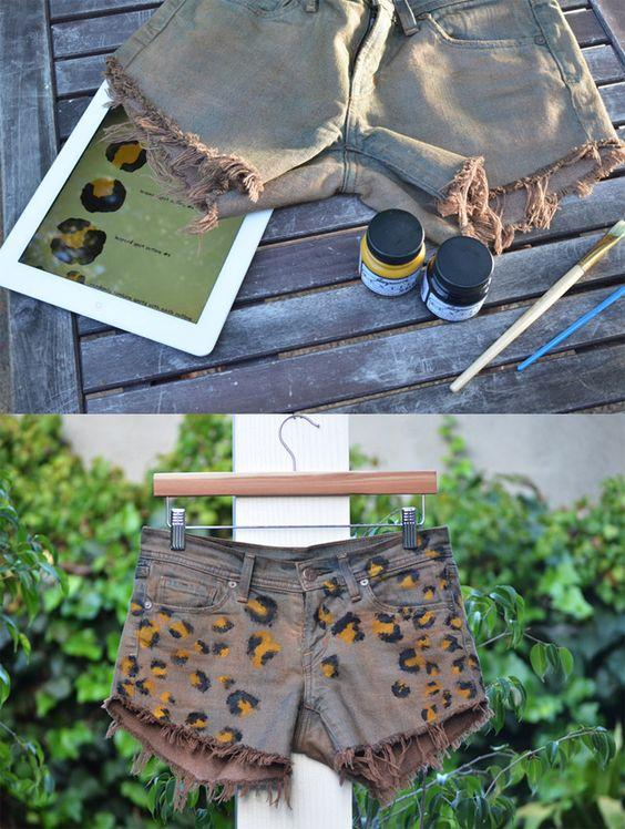 diy shorts oncinha tinta