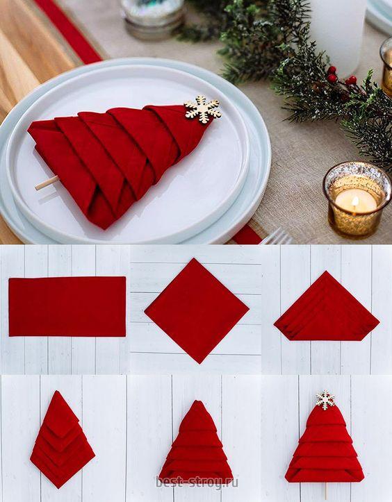dobrar guardanapos natal 11