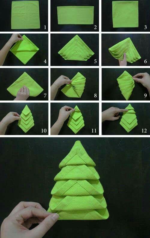 dobrar guardanapos natal 6