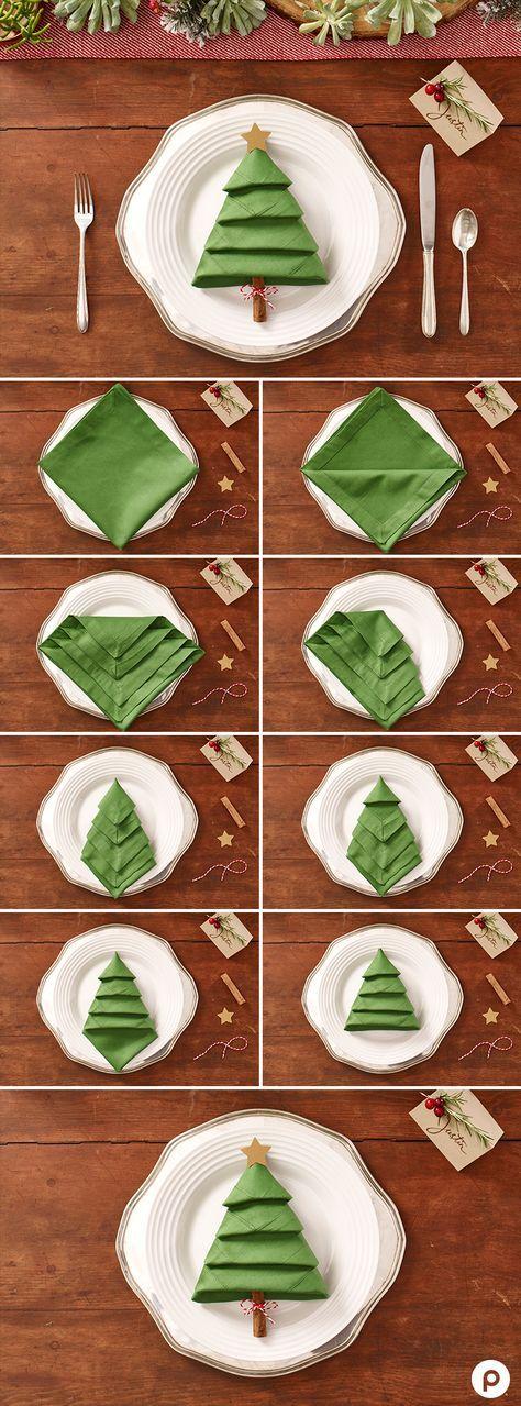 dobrar guardanapos natal 9