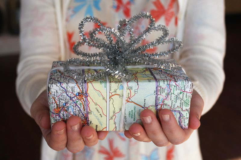 embrulho natal original mapa