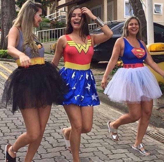 fantasia feminina carnaval tule heroinas