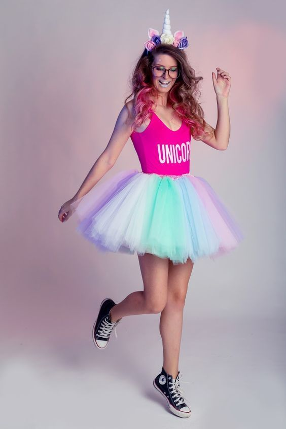 fantasia feminina carnaval tule unicornio