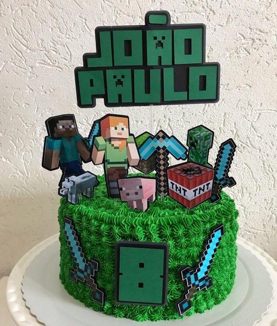 festa tema minecraft bolo 1