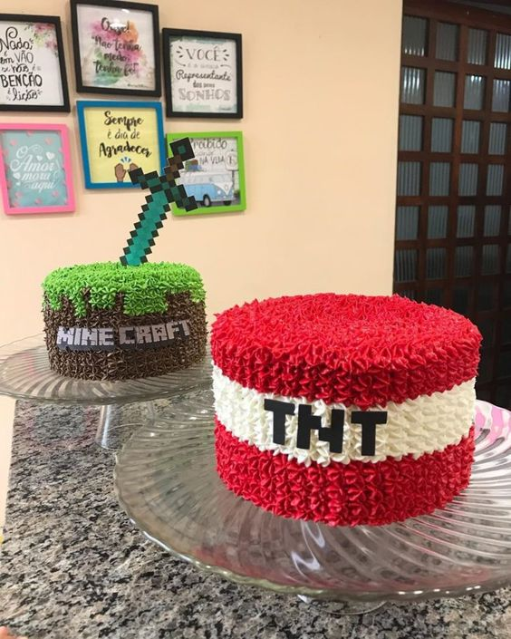 festa tema minecraft bolo