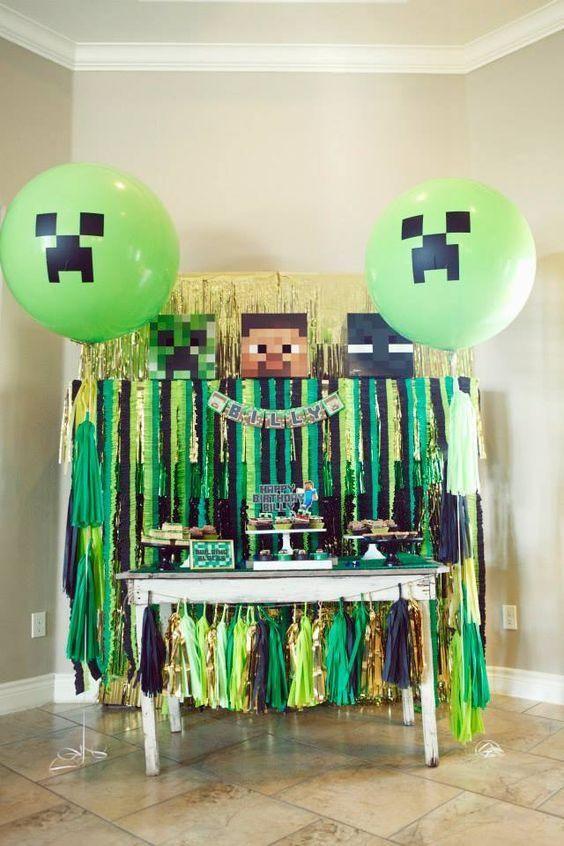 festa tema minecraft decoracao 1