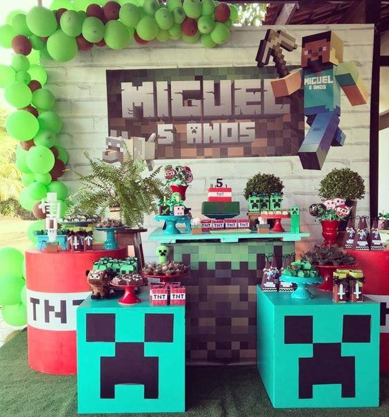 festa tema minecraft decoracao 3