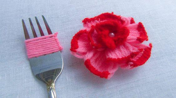 flor croche garfo 6