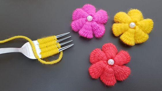 flor croche garfo