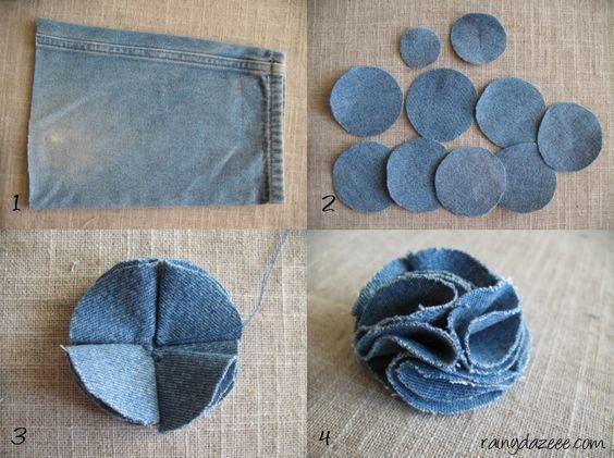flor jeans velhos tutorial passo passo