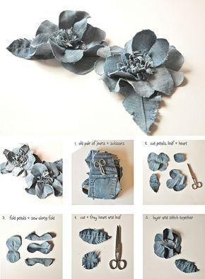 flor jeans velhos