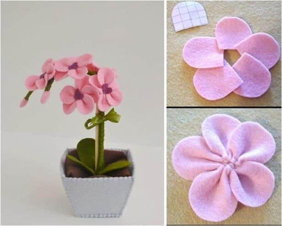 flores feltro ideias
