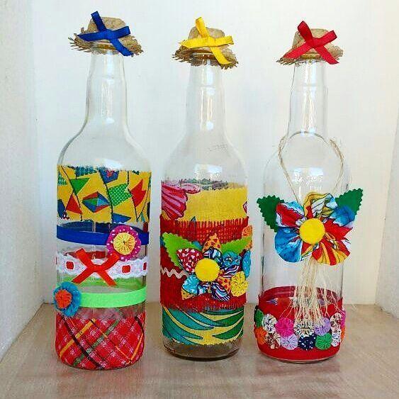garrafa decorada festa junina 2