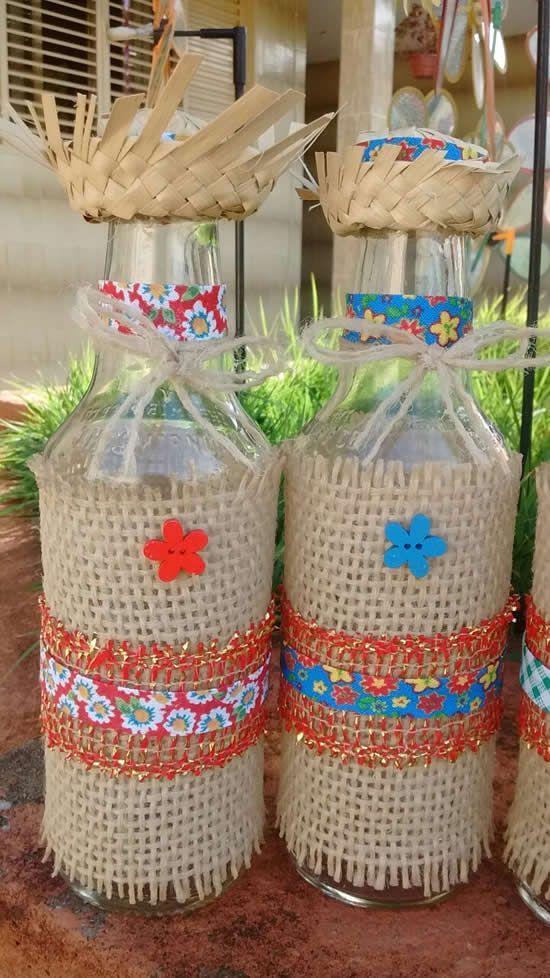 garrafa vidro decorada festa junina chapeu