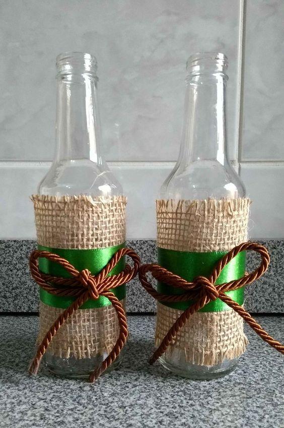 garrafa vidro decorada festa junina juta