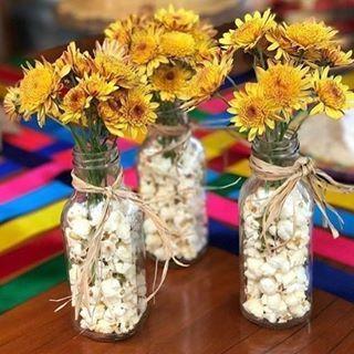 garrafa vidro decorada festa junina pipocas