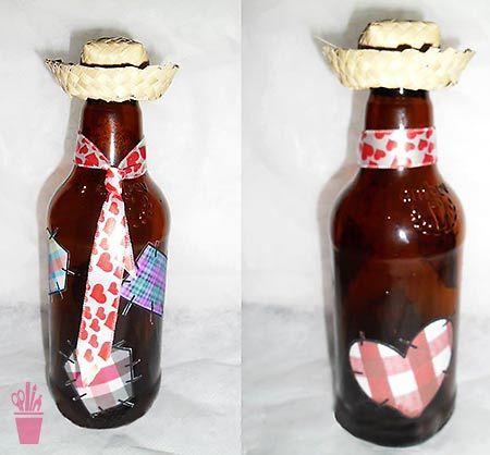 garrafa vidro decorada festa junina