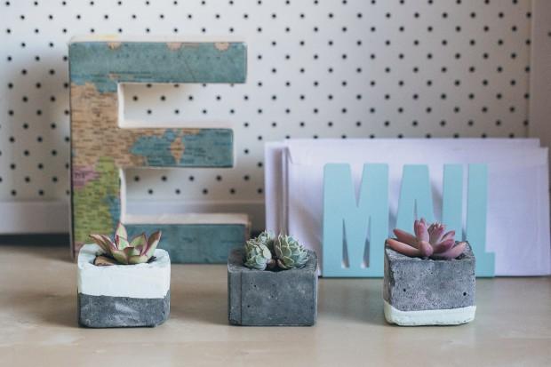 ideias concreto decoracao vasos