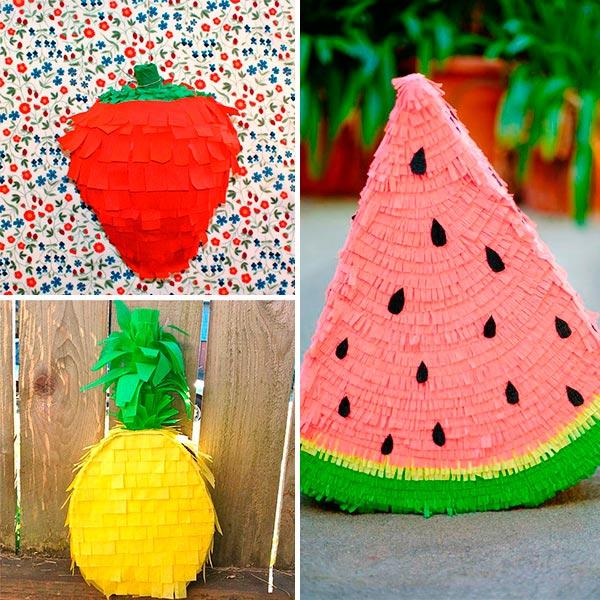ideias criativas pinhatas frutas