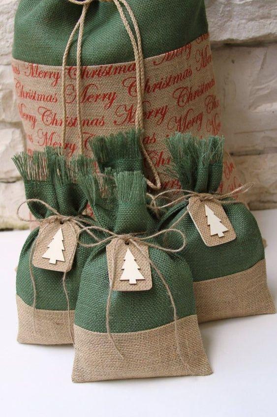 ideias de saquinhos de juta para o natal 3
