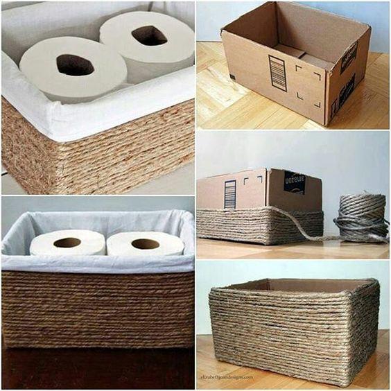 ideias decorar caixas papelao