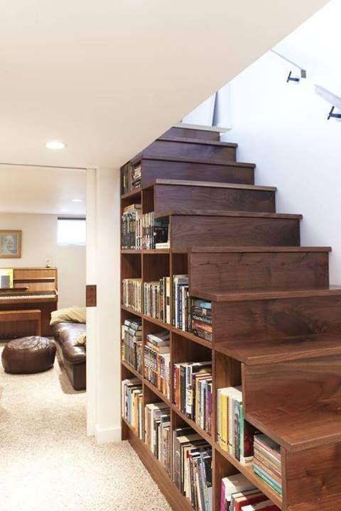 ideias decorar vao escadas biblioteca