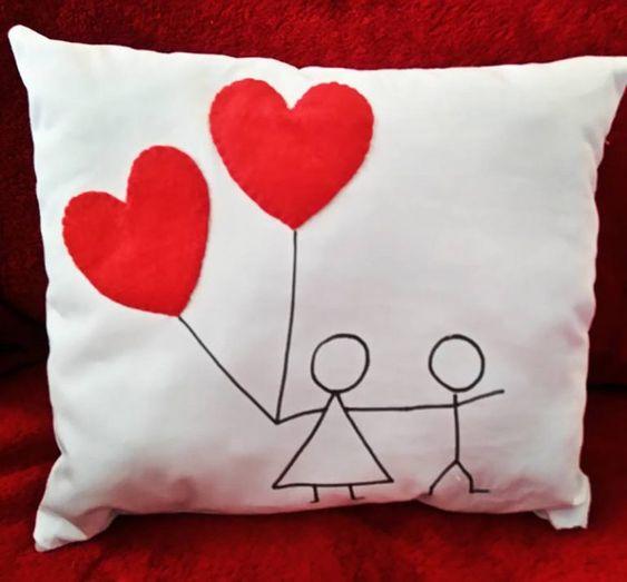 ideias dia namorados almofada coracao