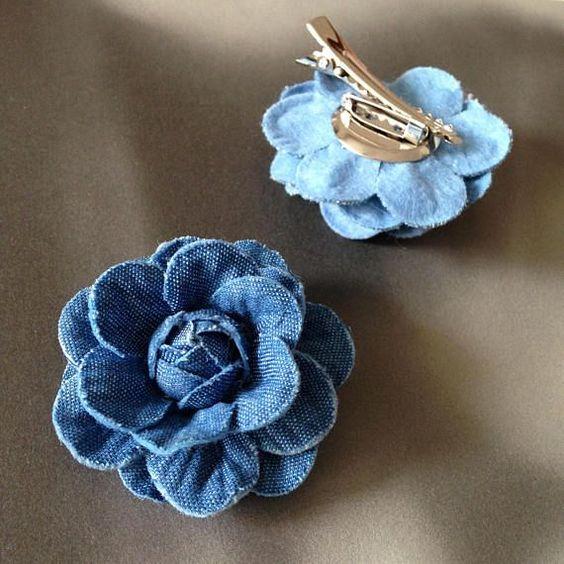 ideias usar flores jeans cabelo