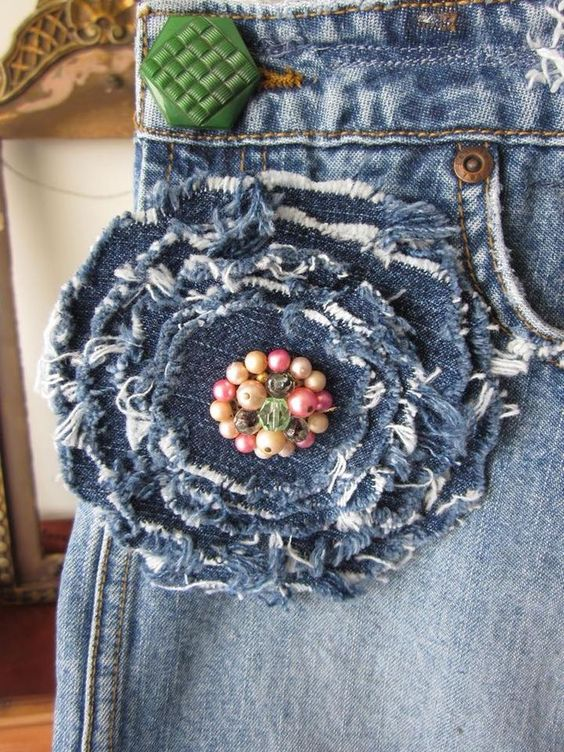 ideias usar flores jeans calcas