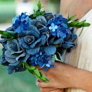 ideias usar flores jeans casamento