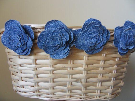 ideias usar flores jeans cesto