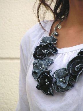 ideias usar flores jeans colar