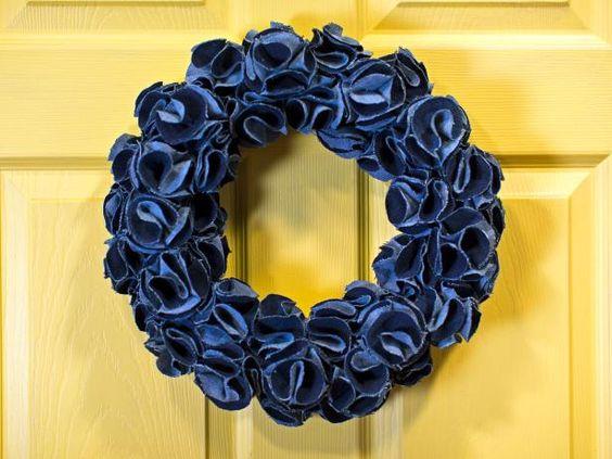 ideias usar flores jeans guirlanda