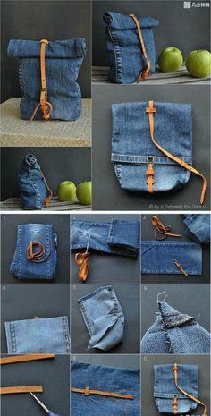 jeans reciclados mala