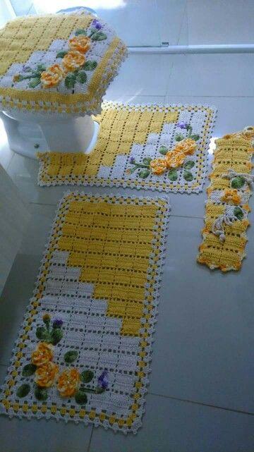 10+ Jogos de Banheiro em Croche -> Tapete Banheiro Pequeno