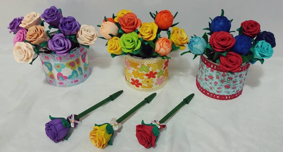 lembrancinha eva dia criancas caneta flor