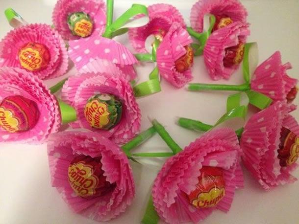 lembrancinhas pirulitos flor ideias