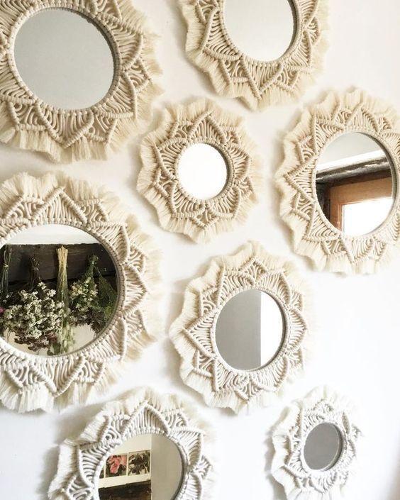 macrame decoracao espelho