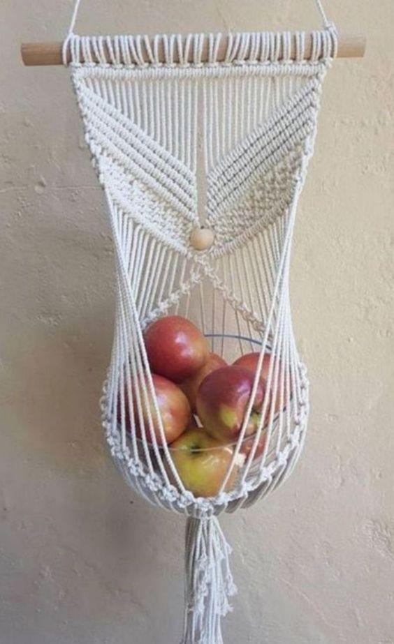 macrame suspenso frutas