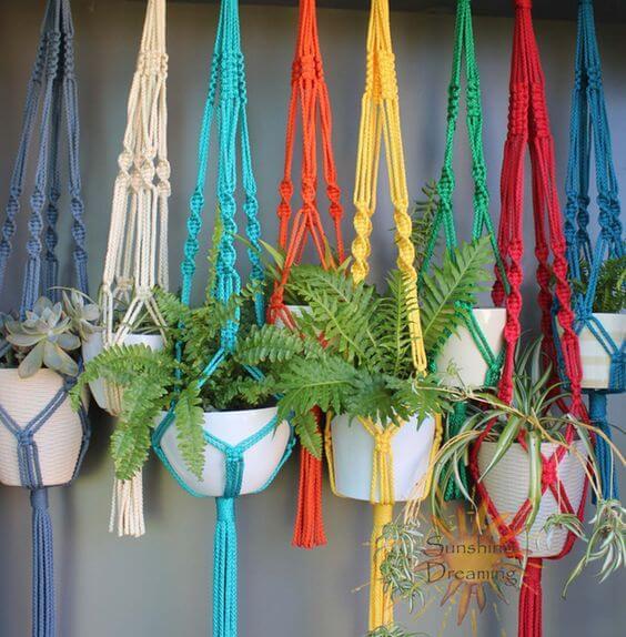 macrame suspenso suporte plantas colorido