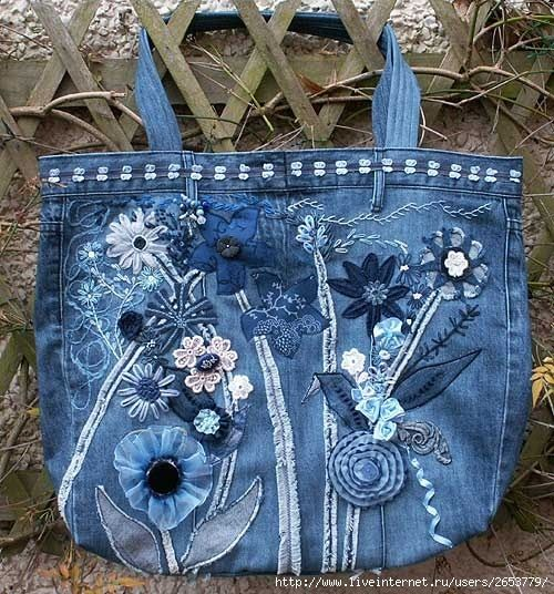 mala feita de jeans reciclados